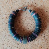 Upcycled leather, rubber and metal bracelet. £30.00 including p&p