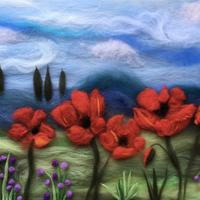 Wool painting of poppies made with merino wool