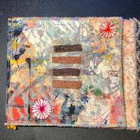"Handmade hand printed , machine embroidered fabric and paper journal 7""x 6 ""£25.00"