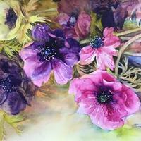 Japanese anemones. Watercolour