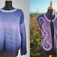 A jumper bought from a jumble sale refashioned into a cardigan.