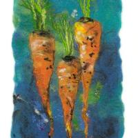 Carrots for Tea. Felt work with stitch detail. Limited edition print, image size approx 48cm x 35.5cm with double white linen mount. £55.00 plus postage and packing.