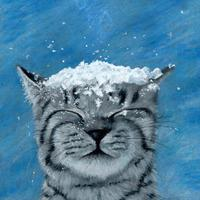 Cat in snow - Prismacolor pencils - part of my 2020 Christmas card range