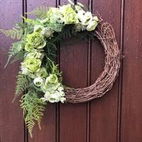 Green and white spring floral wreath