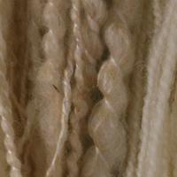 Spiral spun wool and soya ready to weave into cellulite-texture cushion cover.