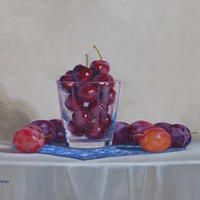 Cherries and Plums Christine Hodges Oil on Panel