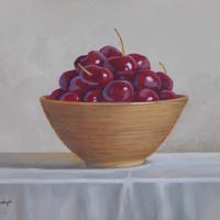 Cherries in Brown Pottery Bowl Christine Hodges Oil on Panel