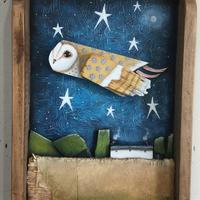 Wooden barn owl picture set in an old wooden drawer