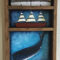 3D Coastal Scene featuring cottages, ship and whale set in old wooden tray