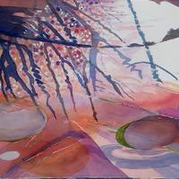 Country Puddle, Sun Setting  watercolour,  2018.  w74 X 94 cms framed