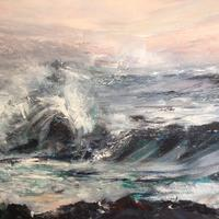 Crashing Waves - Acrylic on Canvas, framed 82cm x 62cm