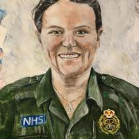NHS Worker Portrait 2020 mixed media on paper