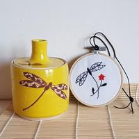 Ceramic and Embroidery hoop with Sheila's dragonfly design