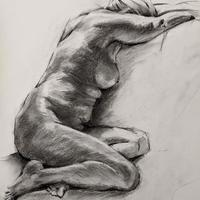 Life drawing of Lucy, graphite on paper