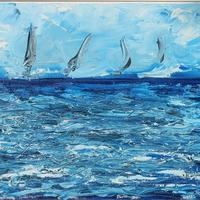 Dreaming of the Sea. Acrylic on canvas H 38.5cm x 48.5cm in white wooden frame
