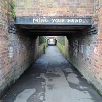 Please Mind Your Head. Photographic Print. Original walkway under Jephson Gardens.