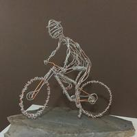 Off road cyclist - wire sculpture