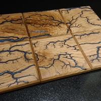 Oak Costers with Resin Filled Fractal Burns, available in sets of 2 (£16), 4 (£28) & 6 (£40)