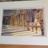 "Durham cloisters - a study of light in watercolour, brown frame, framed 15"" by 18""  £50"