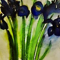 Irises. Coloured ink painting