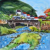 Original painting-East Lyn River. Framed in triple white moulding with art glass 44cm x 44cm. £395.00