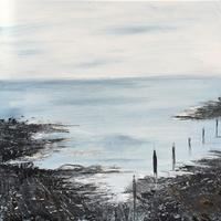 'Edge of The bay' 30cms square shallow canvas textured acrylic