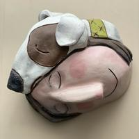 Hounded - earthenware, mixed media