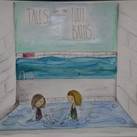 Tales of the Footbaths- Coventry people's stories of swimming at Cov Baths. Pen and watercolour