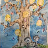 Family Tree Commission- pen and watercolour.
