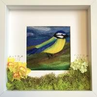 Needle felted blue tit with merino wool