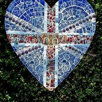 Mosaic heart featuring Queen Mary and Prince Albert, 1910 - 1935: 40cm x 40cm at widest points, Price £150