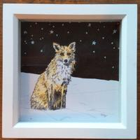 Snow Fox, pencil and ink, framed 15cm x 15cm. £35 including postage.
