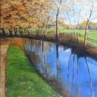 Autumn by Oxford waterway in Acrylics