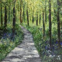 Taking a walk through filtering sunshine and savouring the gentle fragrance of bluebells.  Acrylics