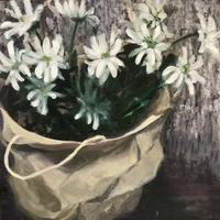 Paper carrier with Chrysanthemums - oil on canvas