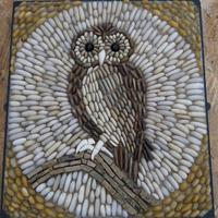 Owl  on Cotswold stone branch .This is a wall mosaic is made into a metal frame with wall attachment points.