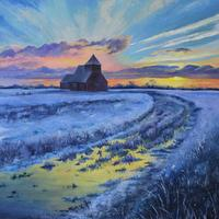 'Good Morning' - Sunrise over a frosty landscape, acrylic on canvas.