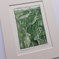 """'Hare today, gone tomorrow', img 100 x 147 mm, mounted 8"""" x 10"""""""