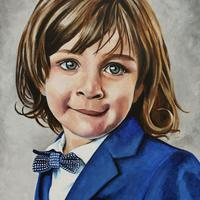 'Harrison' - Portrait of a young boy, acrylic on canvas.