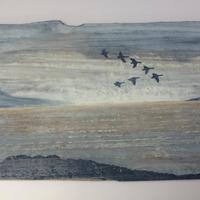 "Heston Deep landscape, acrylic on fence panel    60"" x 30"""