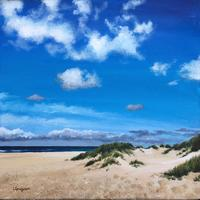 'Holkham Beach' - Blue skies over the dunes, acrylic on canvas.