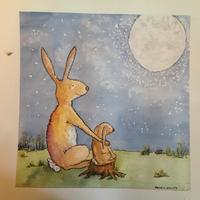 """I LOVE YOU  - watercolour, framed in white frame, 12"""" by 12"""" £55"""