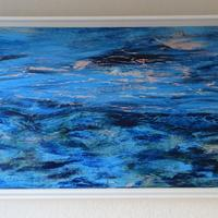 TO THE SUMMER ISLES acrylic on linen in white wood floater frame w 105 x h 54 cm