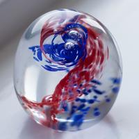 Blown Glass Red and Blue Swirl Paperweight by Melissa Keskinkilinc