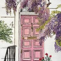 "'Wisteria Hysteria'   A free motion machine stitched image, measuring 27cms x 17cms (10.5"" x 6.6"")."