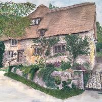 'Cotswold Cottage, Stanton, UK',  Free motion machine stitched image, measuring 43cms x 37cms.