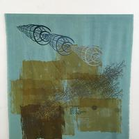 Needlemakers: Screen printed and hand sewn wall hanging, on noil silk and a wood batton