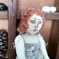 Hand made art doll - calico, found papers, wool, pen