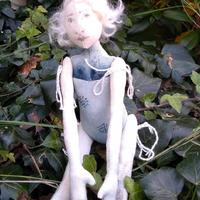 Hand made art doll - hand painted calico, angora wool, pen