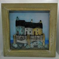 Coastal cottages - Mixed media, Cornish Sea glass and beach finds